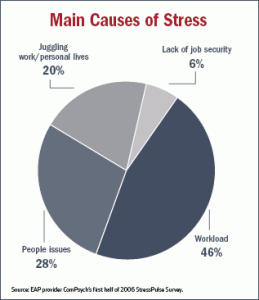 Chart describing the souces of stress in America