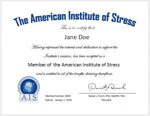 AIS member certificate
